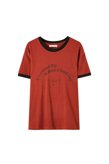 Ribbed T-shirt with contrast slogan