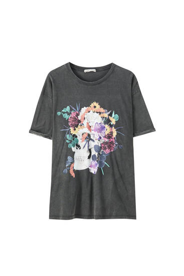 Skull and floral print t-shirt