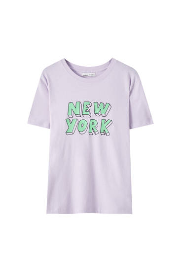 Lila New York yazılı t-shirt