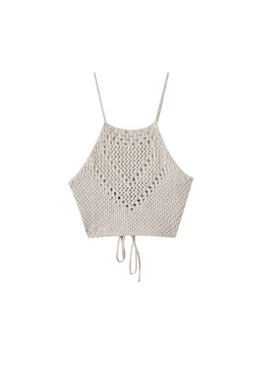 Strappy crochet crop top