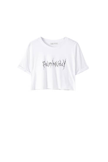 Cropped-Shirt mit Slogan Palmholiday