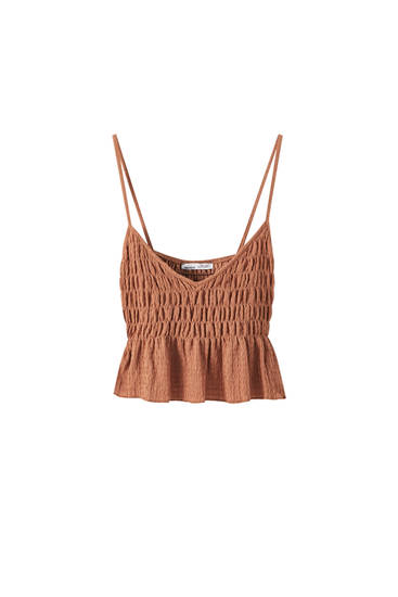 Strappy top with shirring