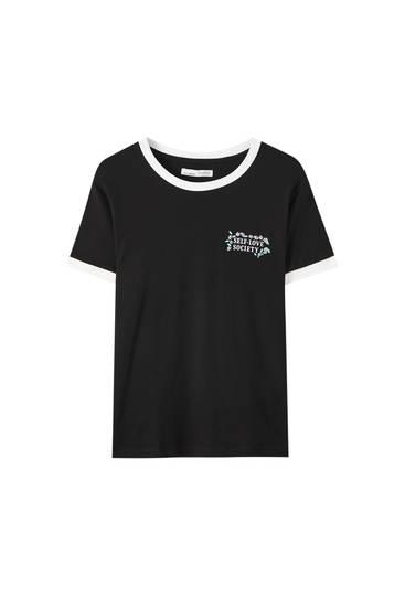 T-shirt à fleurs bord-côte contrastant