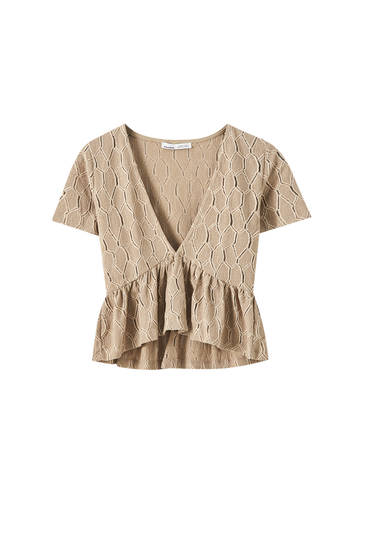 Pointelle top with ruffled detail