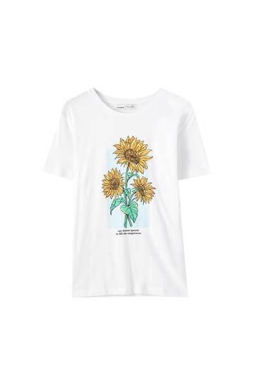 White T-shirt with sunflower illustration
