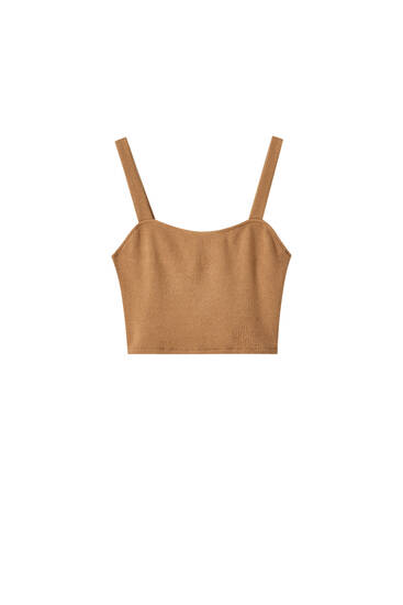 Strappy crop top with cutwork detail