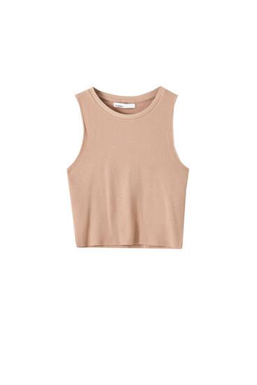 Cropped T-shirt met fijne ruit