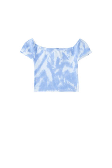 Blue tie-dye boat neck top