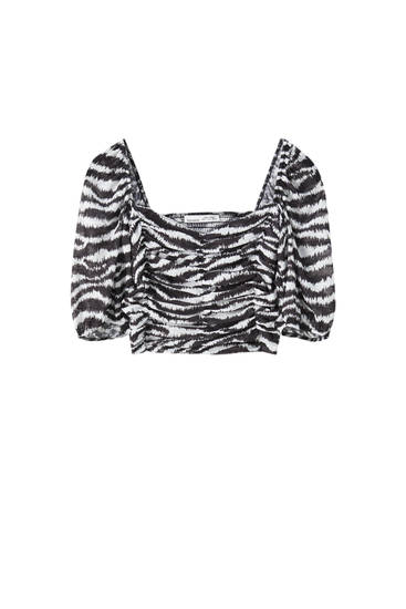 Zebra print gathered top