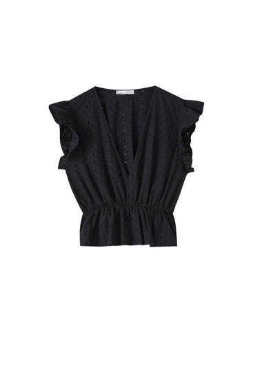 Crossover neckline top with Swiss embroidery