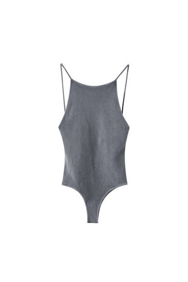 Ribbed faded effect bodysuit