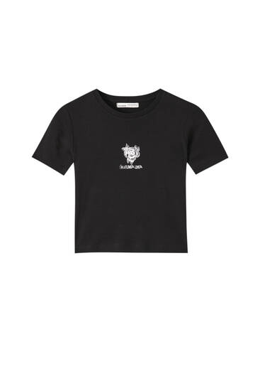 Ribbed T-shirt with contrast illustration