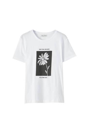 Weißes Shirt mit Margariten-Motiv