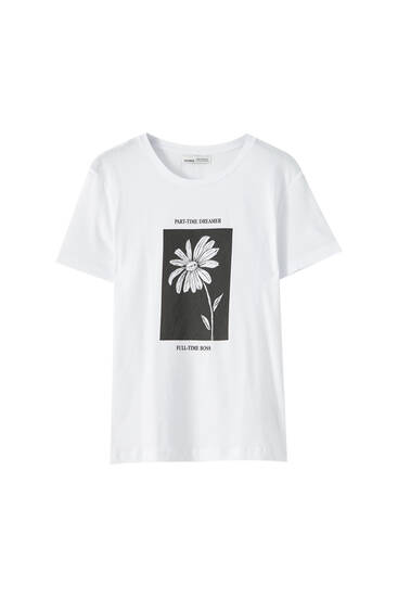 White T-shirt with daisy illustration