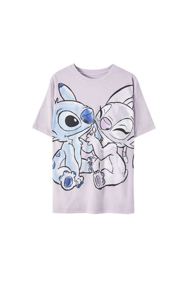 "T-shirt with ""Stitch & Angel"" illustration"