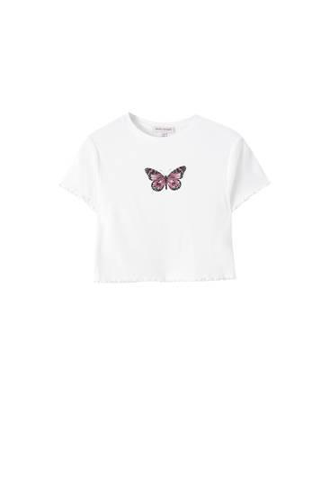 Weißes T-Shirt mit Schmetterlingsprint und Muschelsaum