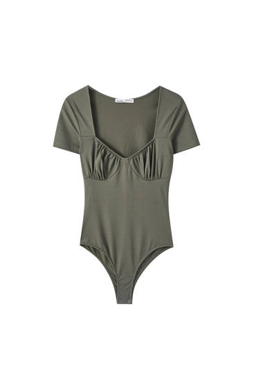Basic bodysuit with balconette detail