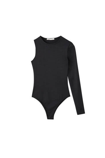 Black ribbed bodysuit with asymmetric sleeves
