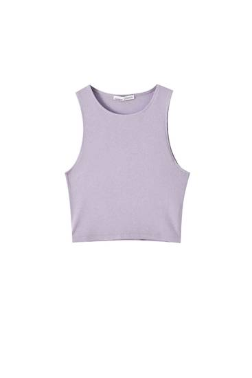 Basic geribde top in effen kleuren