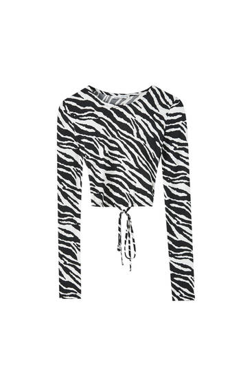 Open back top with zebra print