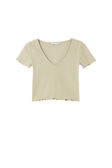 Lettuce-edge cropped ribbed T-shirt