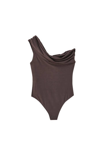 Asymmetric bodysuit with draped detail