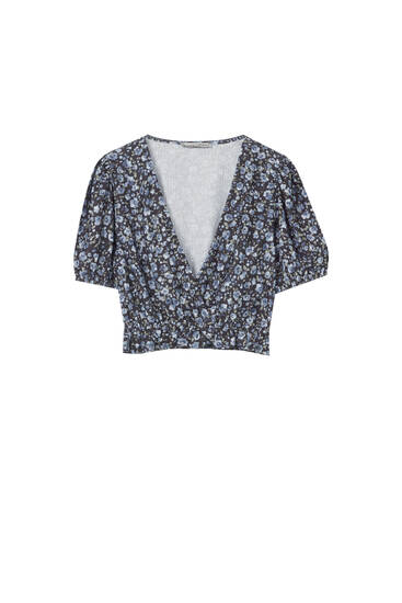 Printed blouse with crossover neckline