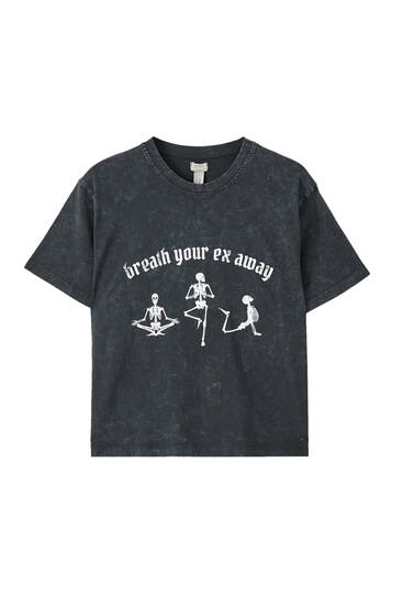 Faded black skeleton T-shirt