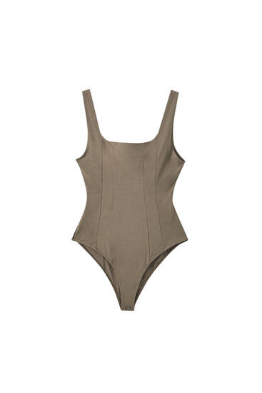 Corset bodysuit with square neckline
