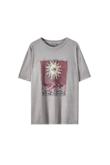 Sun with eye illustration T-shirt