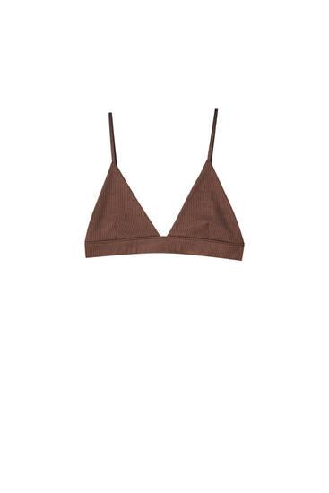 Ribbed triangle bra