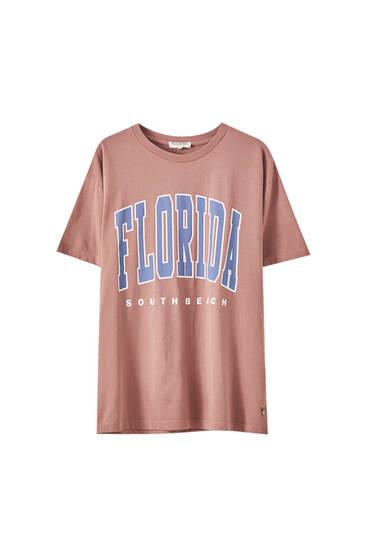 Розовая футболка с надписью Florida