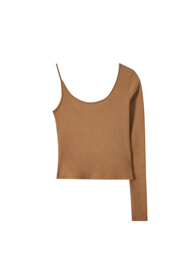 Asymmetric long sleeve top
