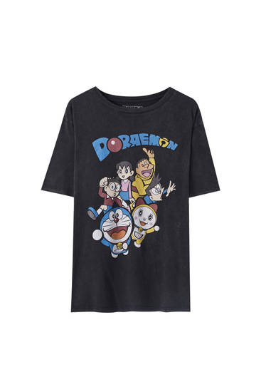 Faded black Doraemon T-shirt