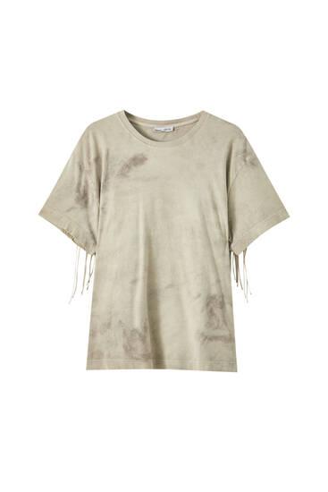 Tie-dye-Shirt mit Fransen