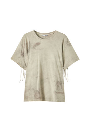 Tie-dye T-shirt with fringe detail