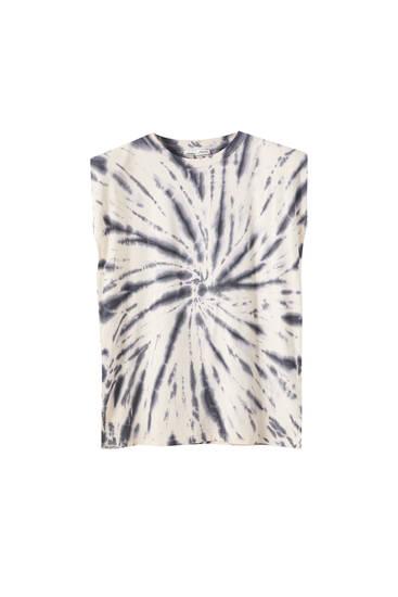 Tie-dye-Shirt mit Schulterpolstern