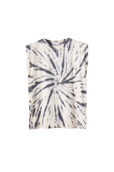 Tie-dye T-shirt with shoulder pad detail