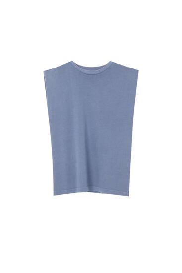 Basic T-shirt med voluminøse skuldre