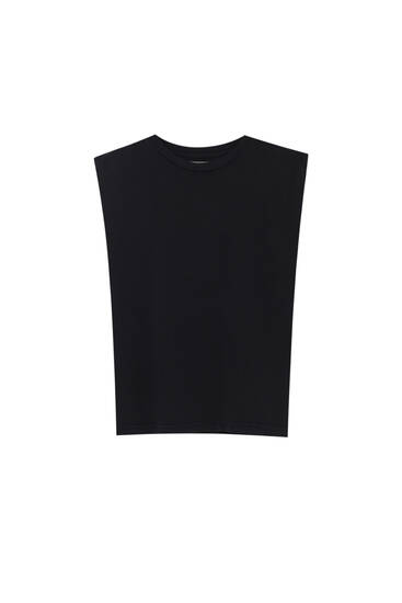 Basic T-shirt with voluminous shoulders