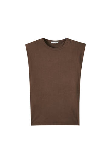 Sleeveless top with shoulder pad detail