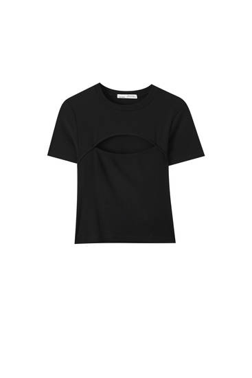Cut-out ribbed T-shirt