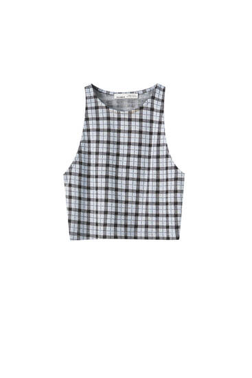 Sleeveless checked top