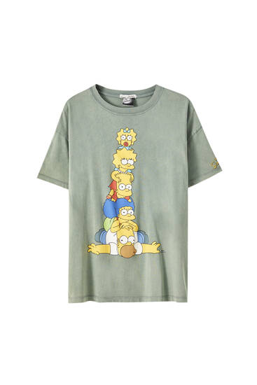 Green The Simpsons characters T-shirt