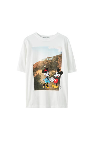 Mickey and Minnie Mouse illustration T-shirt