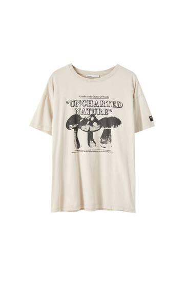 T-shirt basique imprimé champignons