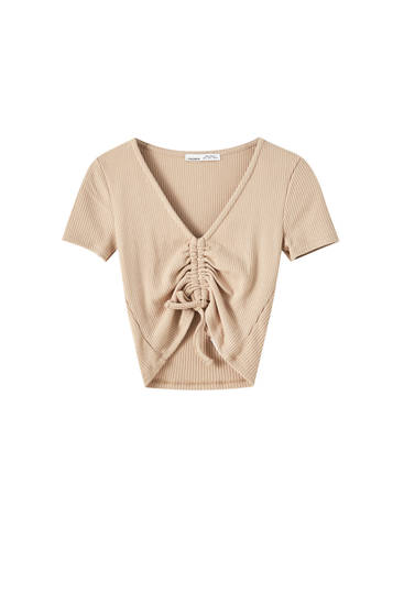 Ribbed T-shirt with ruched front