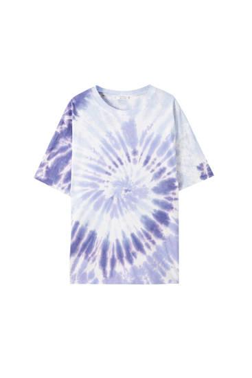 Camiseta oversize tie dye lila