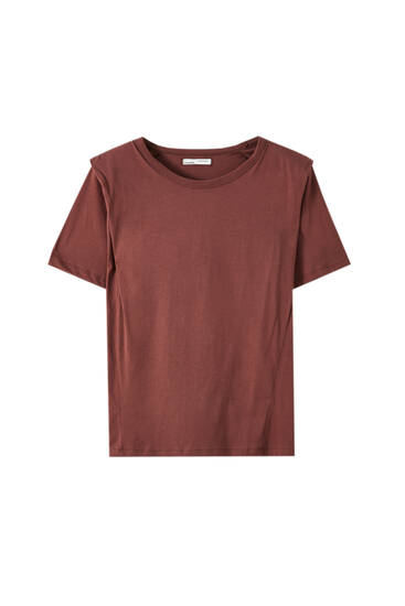 Basic short sleeve T-shirt with shoulder pads
