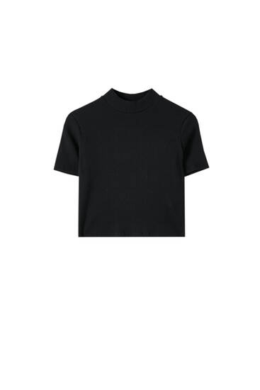 Ribbed mock turtleneck T-shirt